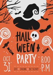 Halloween party invitation card.