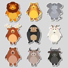 Sticker set with wild animals on gray background