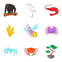 Healthy world icons set, cartoon style