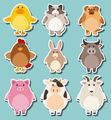 Sticker design for cute farm animals