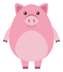 Pink pig with round body