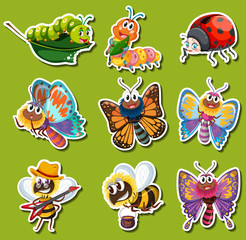 Sticker design for different kinds of insects
