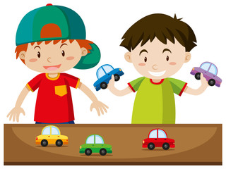 Two boys playing with cars