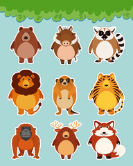 Sticker set with cute animals on blue background