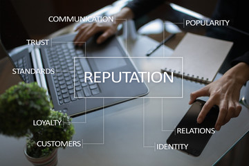 Reputation and customer relationship business concept on virtual screen.