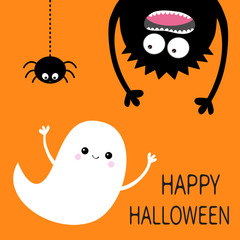Happy Halloween card. Flying ghost spirit. Monster head silhouette. Eyes, hands. Hanging upside down. Black spider dash line. Funny Cute cartoon baby character. Flat design. Orange background.