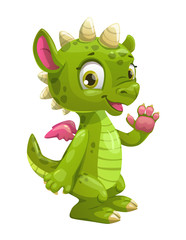 Little cute cartoon green dragon.
