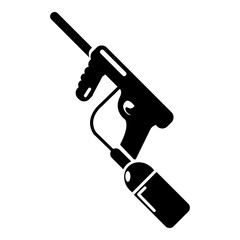 Paintball gun charging icon, simple style
