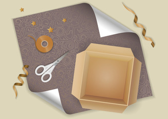 Vector realistic illustration of festive gift wrapping. Cardboard box, scissors, ribbon on gray decorative  paper. Top view.