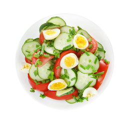 Healthy salad with cucumbers and eggs in bowl, isolated on white