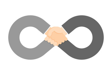 Handshake infinity symbol shape set Business Success concept idea illustration isolated on white background, with copy space