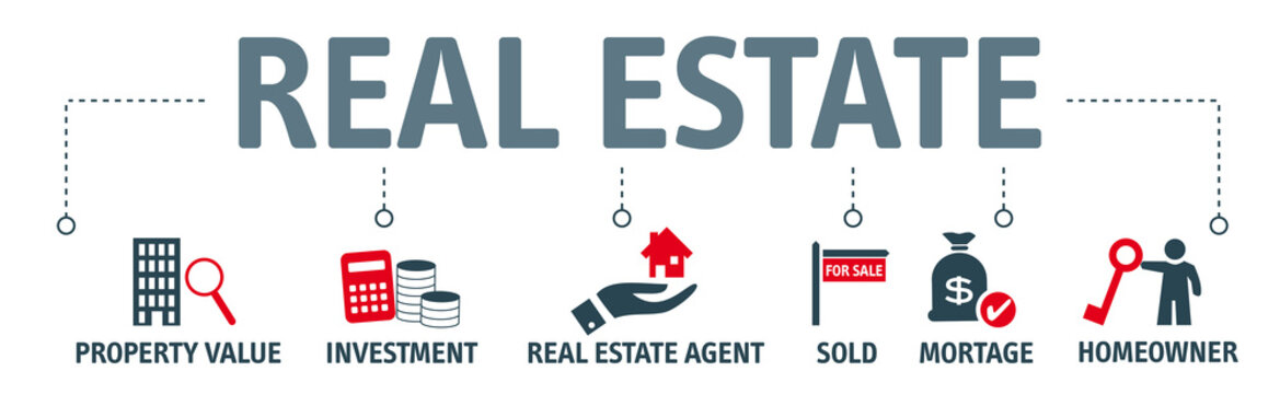 Banner real estate concept - vector illustration with icons