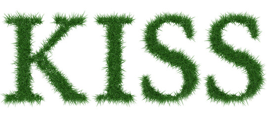 Kiss - 3D rendering fresh Grass letters isolated on whhite background.