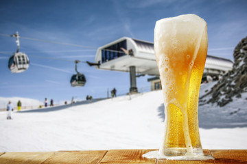 winter beer and snow space