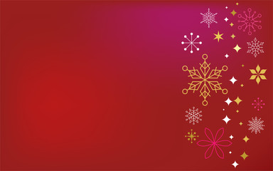 Christmas red classic background, greeting card, banner with xmas flowers, ornaments and lettering