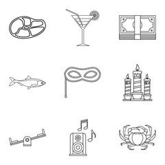Evening for adult icons set, outline style
