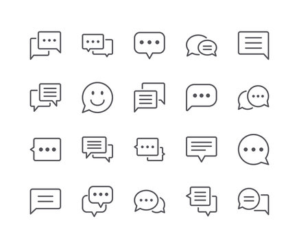 Minimal Set of Chat Bubble Line Icons