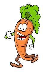 Cartoon Joyful Carrot Vector