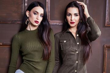 Two beautiful sexy fashion stylish brunette woman business
