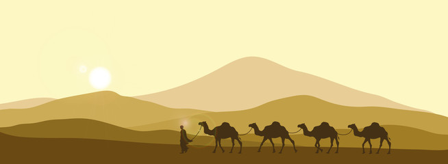 The brown silhouette of the caravan in the desert. Camels in the sands. African landscape