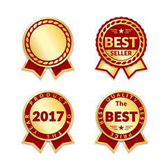 Red ribbon awards best seller of year 2017 set. Gold ribbon award icons isolated white background. Best product golden label for prize, badge, medal, guarantee quality product Vector illustrationt