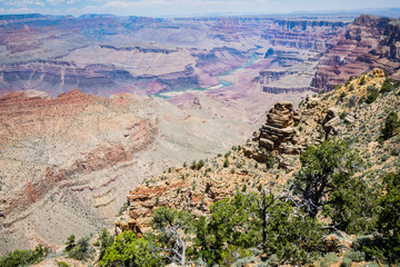 River valley of the Colorado River in the gorge of the Grand Canyon. Colorado Plateau, Arizona