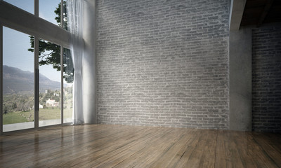 The interior design of empty room and living room and brick wall texture / 3D rendering new scene new model  Wall mural
