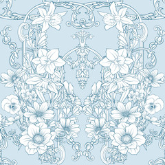 Seamless pattern with daffodils, anemones, violets