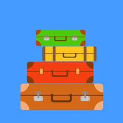Stack of suitcases on blue background, travel concept, flat design vector illustration.
