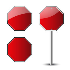 Stop traffic road signs blank set. Prohibited red octagon road signs isolated on white background. Glossy stop roadsigns icon. No transportation attention icons. Vector illustration