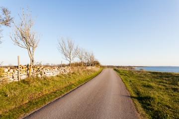 kustväg på Öland med stenmur