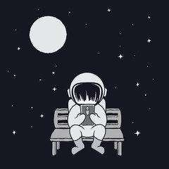 Spaceman sits on bench