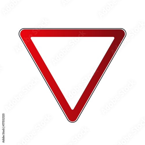 Yield triangle sign blank. Traffic red road sign isolated on white ...