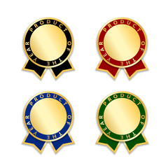Ribbons award best product of year 2017 set. Gold ribbon award icons isolated white background. Best product golden label for prize, badge, medal, guarantee quality product Vector illustration