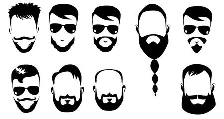 black and white vector of men heads, men with beard, bearded man, beard, face men