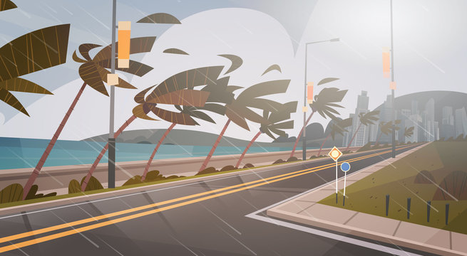 Tornado Incoming From Sea Hurricane In Ocean Huge Wind Over Palm Trees And Road Tropical Natural Disaster Concept Flat Vector Illustration