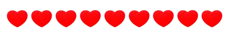 banner med nio röda hjärtan isolerade mot vit bakgrund