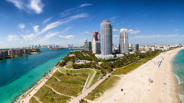 South Beach Miami Aerial View, Florida USA