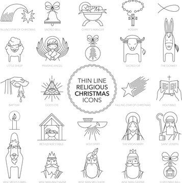 Thin line Religious Christmas Icons