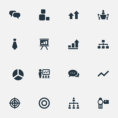 Vector Illustration Set Of Simple Presentation Icons. Elements Conversation, Training, Hierarchy And Other Synonyms Goal, Coach And Target.