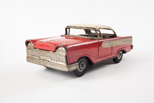Vintage toy red metal car