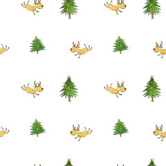 christmas doodle seamless pattern