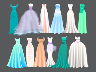 Set of 12 festive and prom dresses for girls. Princess style