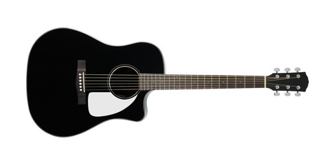 Musical instrument - Black acoustic guitar. Isolated