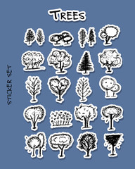 Trees, sticker set for your design