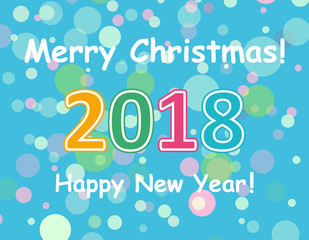Happy New Year 2018 multicolor background for your greetings card illustration