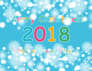 happy new year 2018 with bokeh and lens flare pattern on blue sky background. vector