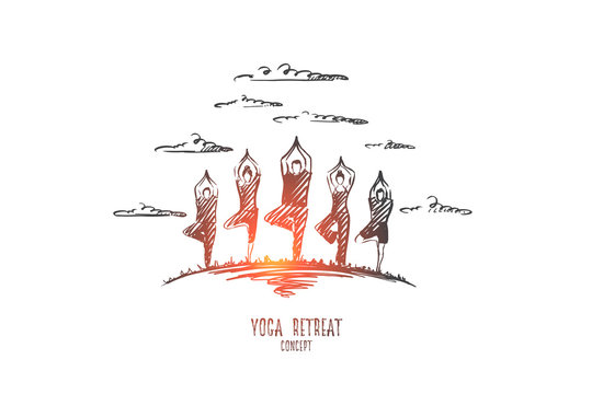 Yoga retreat concept. Hand drawn people doing yoga exercises outdoor. People practicing yoga isolated vector illustration.