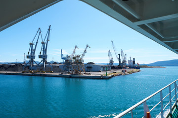 Industrial landscapes with sea crane