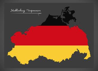 Mecklenburg-Vorpommern map of Germany with German national flag illustration